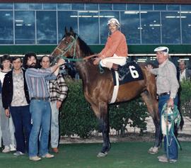 Ed Pawluk's first winner, Ev's Angel. May 25, 1985.