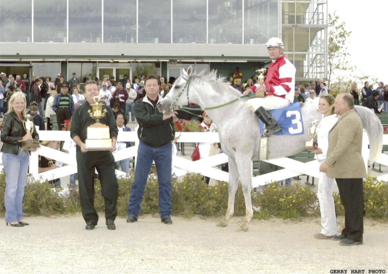 Elite Mercedes wins the Gold Cup on September 24, 2006 for owner Larry Carter and trainer Emile Corbel. Alan Cuthbertson up.