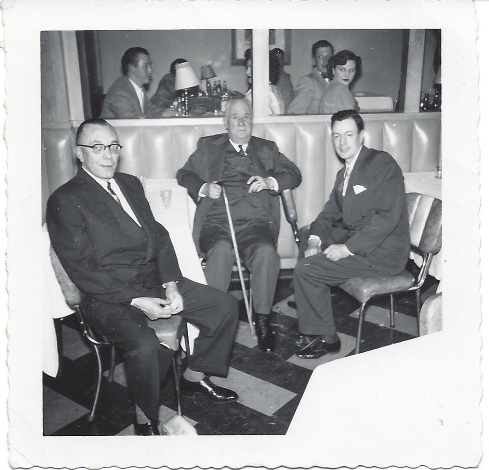 L to R, Lou Davies Jim Speers and Dr. Norm Anderson at 1st Horsemen's Ball, circa 1951.
