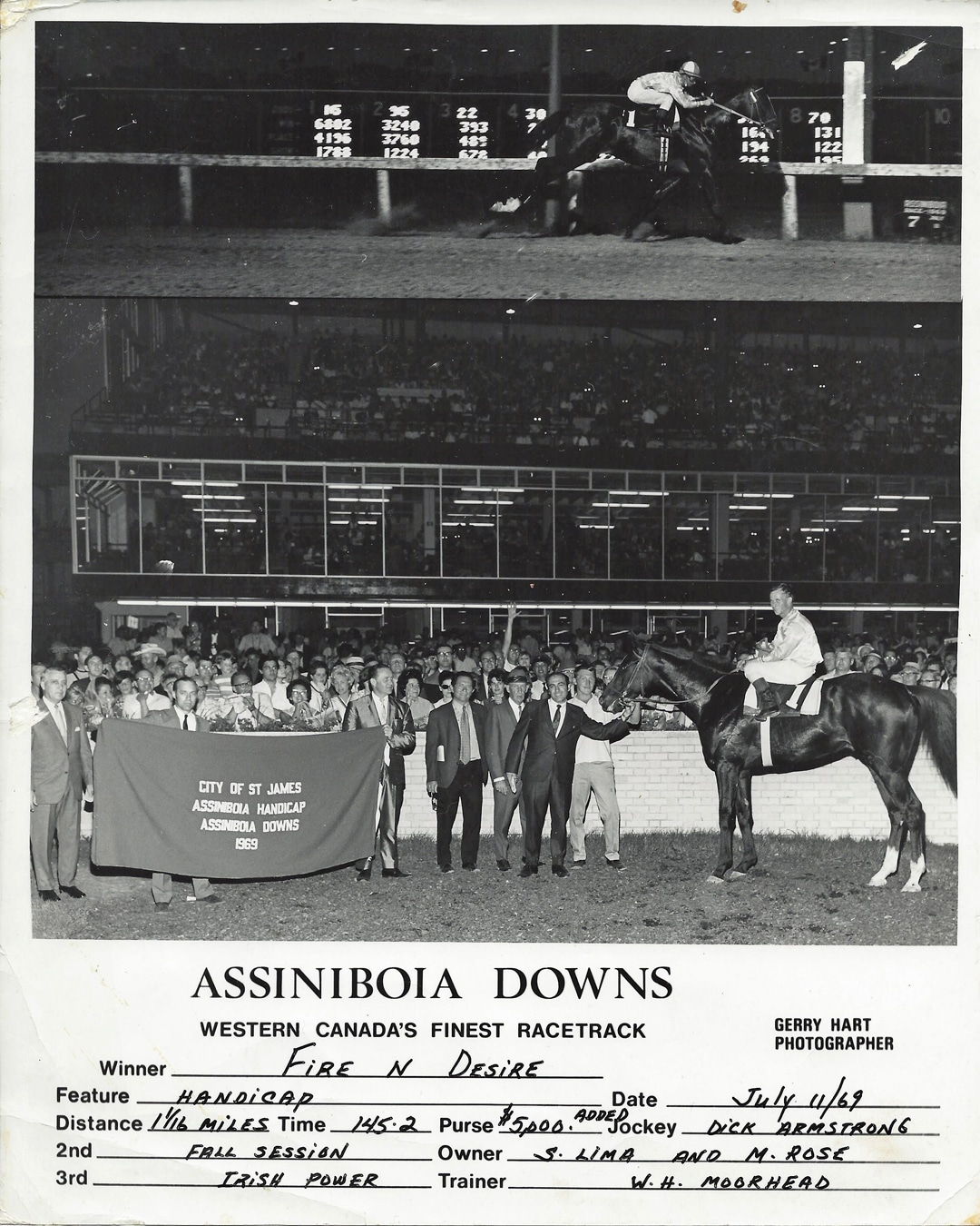 Fire N Desire wins the St. James-Assiniboia Handicap. July 11, 1969.